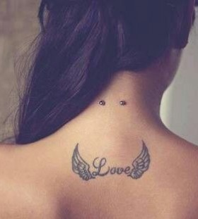 Love angel wings tattoo
