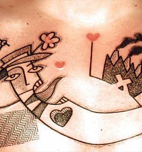 Lovely abstract character tattoos