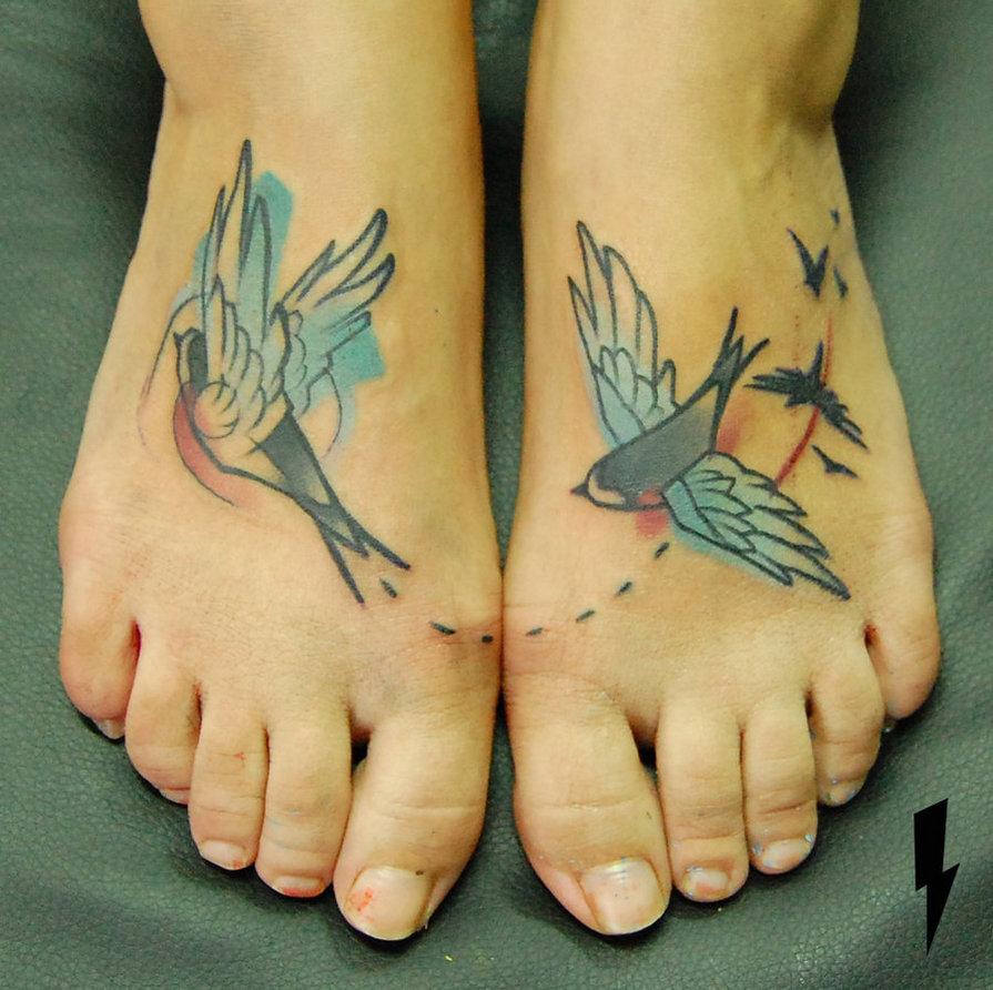 Lovely birds tattoo by Jukan