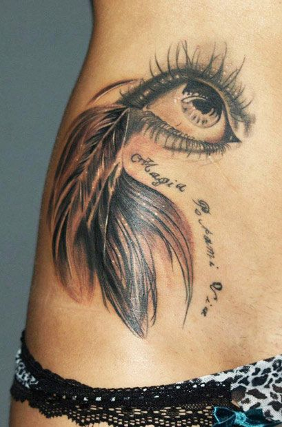 Lovely feather eye tattoo