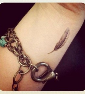 Lovely feather small tattoo