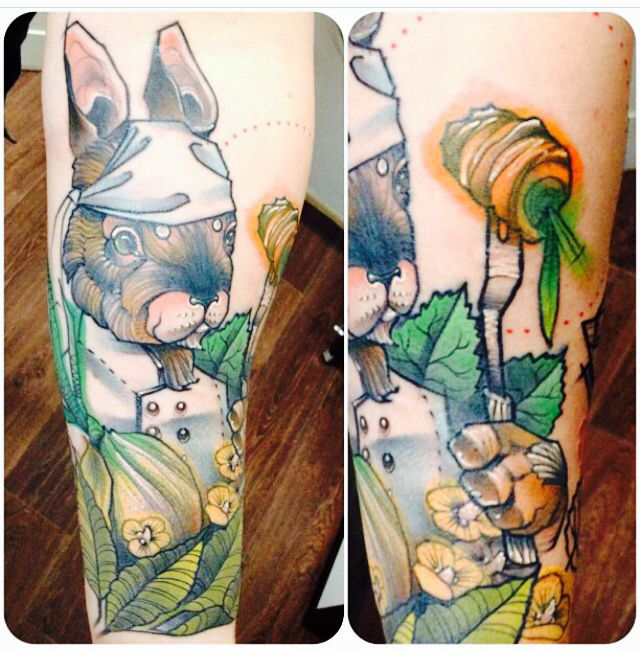 Lovely rabbit tattoo by Jukan