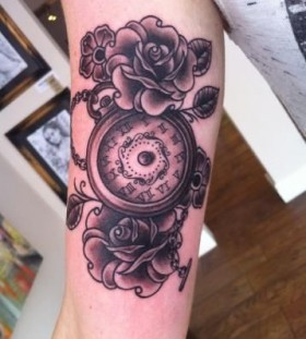 Lovely roses and clock tattoo