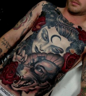 Lovely woman and wolf chest tattoo