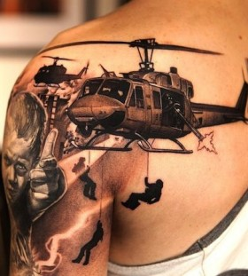 Plane and soldier photorealistic tattoo