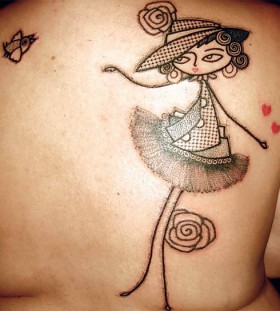 Pretty girl abstract character tattoos