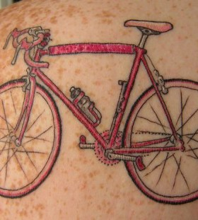 Pretty pink biker tattoo
