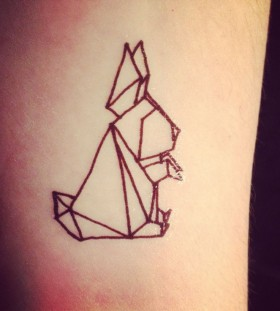 Rabbit origami tattoo