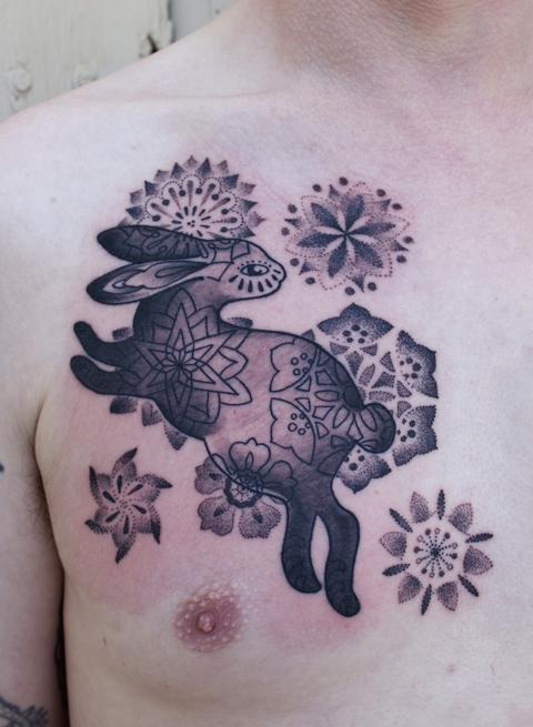 Rabbit tattoo by Gemma Pariente