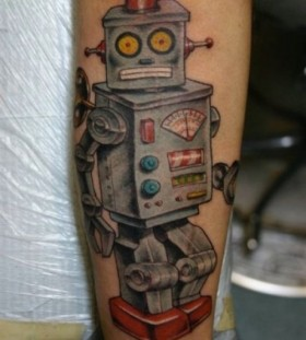 Robot tattoo by Corey Miller