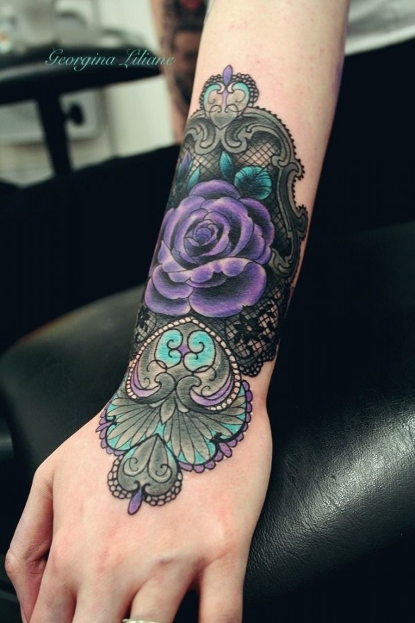 Rose tattoo Purple color