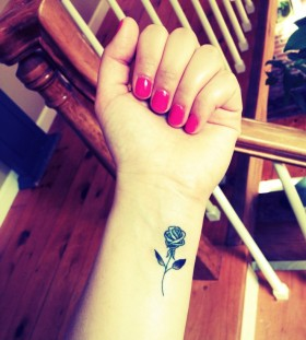 Rose tattoo small ink on wrist