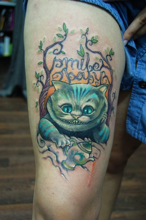 Scary cat tattoo by Jukan