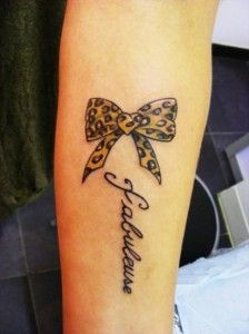 Simle bow with leopard tattoo
