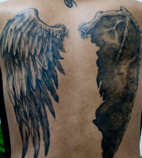 Simple back angel wings tattoo