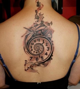 Simple back clock tattoo