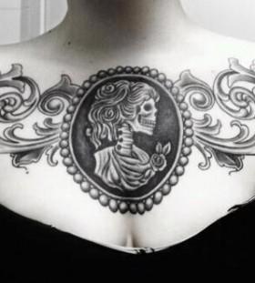 Skull chest tattoo