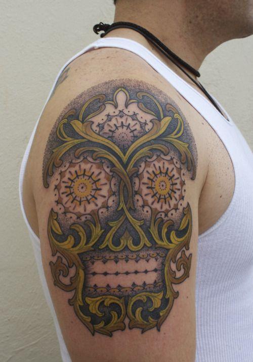 Skull tattoo by Gemma Pariente