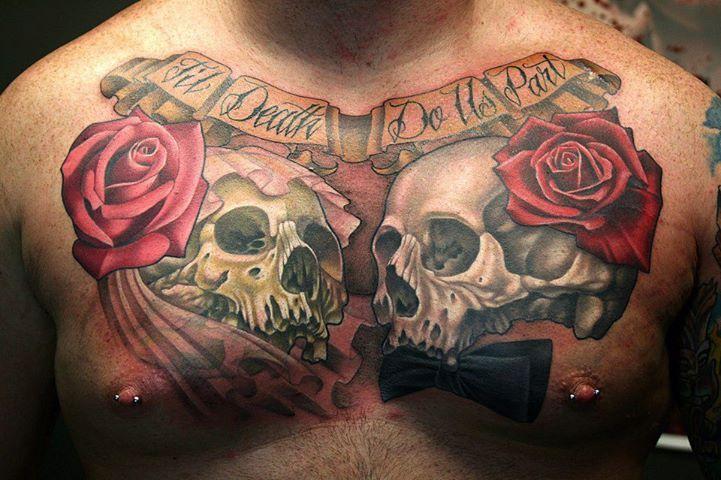 53cf52ff884c9 Skulls and red roses chest tattoo -   TattooMagz › Tattoo Designs ...