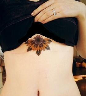 Sunflower chest tattoo
