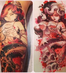 Woman and skulls tattoo by Jee Sayalero