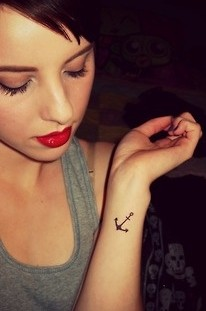 Woman pretty anchor tattoo