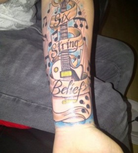 Words and  music tattoo