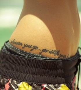 Words hip tattoo