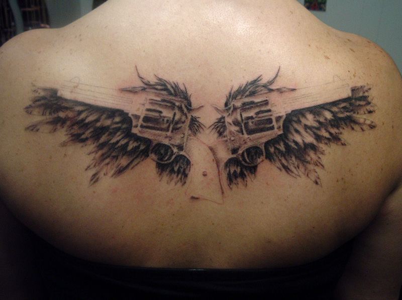angel guns tattoo