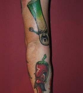 angry vegetable tattoo