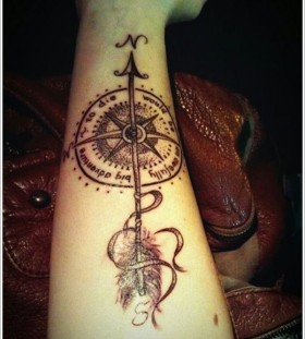 arrow tattoos with a compass