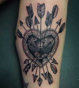 black heart tattoo  arrows