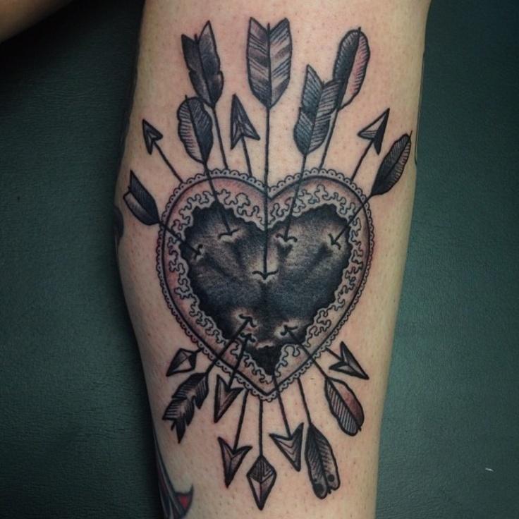 black heart tattoo  arrows