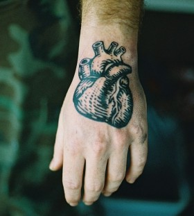 black heart tattoo for man