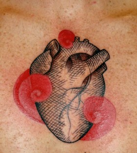 black heart tattoo  with red
