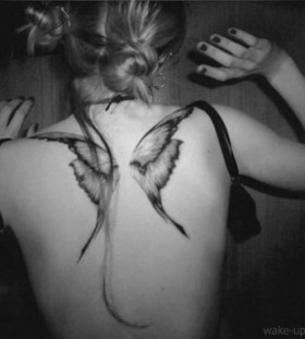 black wings tattoo butterfly