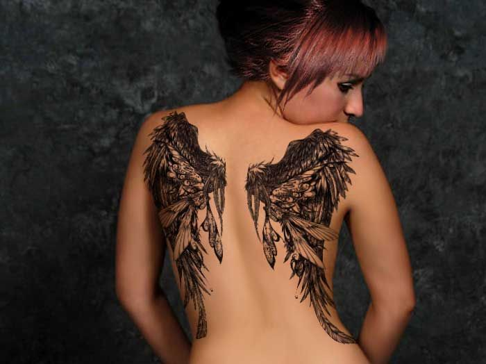 black wings tattoo dark theme
