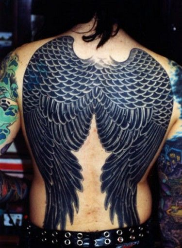 black wings tattoo for man