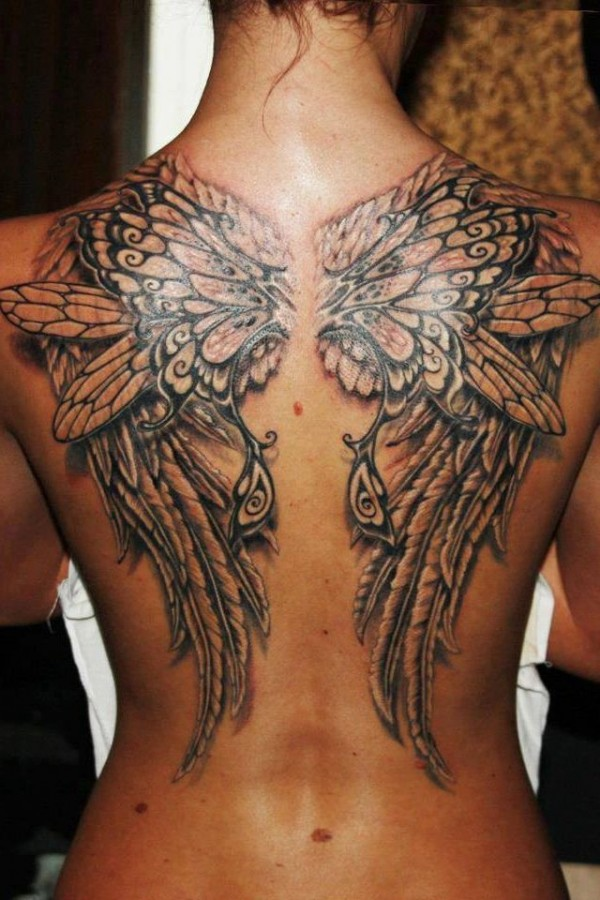 black wings tattoo hd detailed