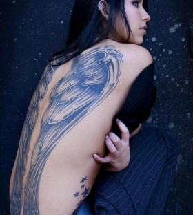 black wings tattoo huge but cool
