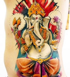 bright color animal tattoos budda