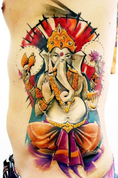 bright color animal tattoos budda