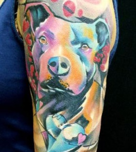 bright color animal tattoos dog