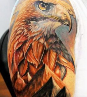 bright color animal tattoos eagle