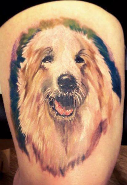bright color animal tattoos lessy dog