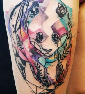 bright color animal tattoos minimal panda
