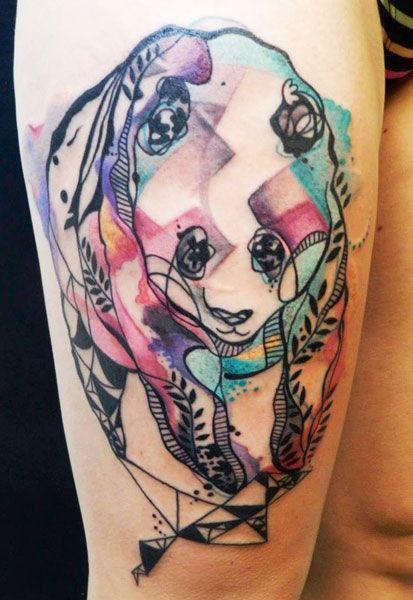 bright color animal tattoos minimal panda