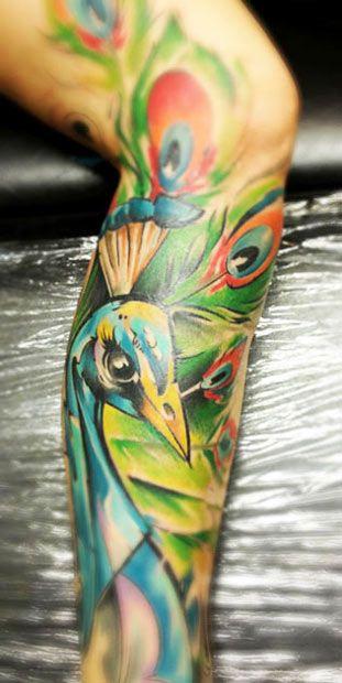 bright color animal tattoos pow