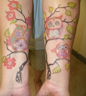 bright color animal tattoos pure colors