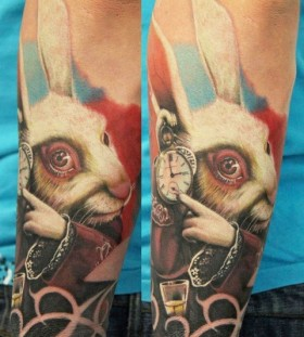 bright color animal tattoos rabbit